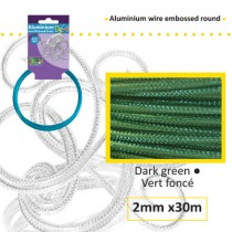 Aluminium wire embossed round 2mm 30m dark green