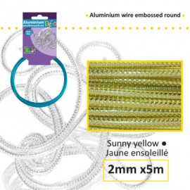 Aluminium wire embossed round 2mm 5m sunny yellow