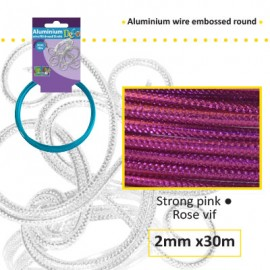 Aluminium wire embossed round 2mm 30m strong pink