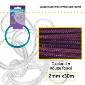 Aluminium wire embossed round 2mm 30m oxblood