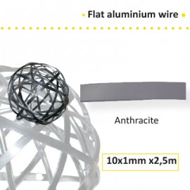 Aluminium flat wire 10x1mm 2.5m anthracite