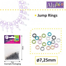 Alu Deco jump rings 7.25mm x150 assortie