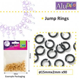 Alu Deco jump rings 15mm x90 black