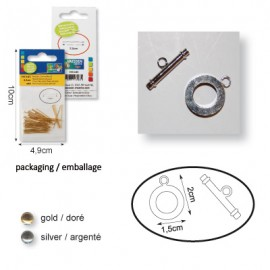 Staaf + ring 15mm x1 zilver